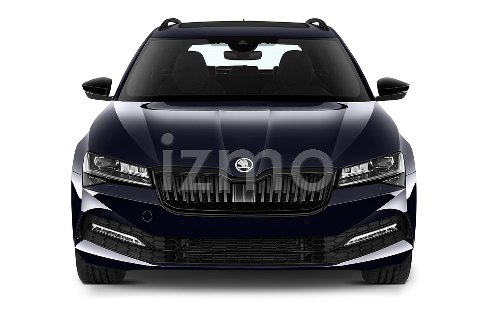 Car photography straight front view of a 2020 Skoda Superb-Combi Sportline-4wd 5 Door Wagon Front View