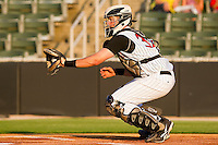 Catcher Mike Blanke #32 of the Kannapolis Intimidators during the game against the Delmarva Shorebirds at Fieldcrest Cannon Stadium on May 20, 2011 in Kannapolis, North Carolina.   Photo by Brian Westerholt / Four Seam Images