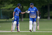 P Gupta (L) and A Ison enjoy a useful partnership for Upminster during Upminster CC vs Fives & Heronians CC, Hamro Foundation Essex League Cricket at Upminster Park on 5th June 2021