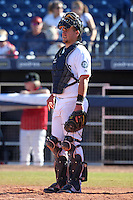 Peoria Javelinas catcher Adam Moore #7 during an Arizona Fall League game against the Salt River Rafters at Peoria Sports Complex on November 2, 2011 in Peoria, Arizona.  Peoria defeated Salt River 4-2.  (Mike Janes/Four Seam Images)