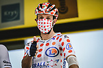 Polka Dot Jersey Michael Woods (CAN) Israel Start-Up Nation at sign on before Stage 15 of the 2021 Tour de France, running 191.3km from Ceret to Andorre-La-Vieille, France. 11th July 2021.  <br /> Picture: A.S.O./Pauline Ballet | Cyclefile<br /> <br /> All photos usage must carry mandatory copyright credit (© Cyclefile | A.S.O./Pauline Ballet)
