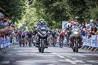 Group of favourites up the Mûr-de-Bretagne <br /> <br /> Stage 2 from Perros-Guirec to Mûr-de-Bretagne, Guerlédan (184km)<br /> 108th Tour de France 2021 (2.UWT)