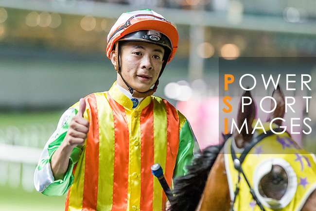Jockey #6 Derek Leung Ka-chun riding Noble de Boy celebrates after winning the race 2 during Hong Kong Racing at Happy Valley Racecourse on September 05, 2018 in Hong Kong, Hong Kong. Photo by Yu Chun Christopher Wong / Power Sport Images