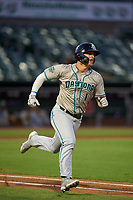Daytona Tortugas Austin Hendrick (1) runs to first base during a game against the Palm Beach Cardinals on May 4, 2021 at Roger Dean Chevrolet Stadium in Jupiter, Florida.  (Mike Janes/Four Seam Images)