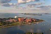 U Mass Boston campus aerial, Dorchester, MA sunset