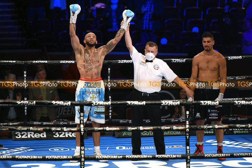 Lyndon Arthur defeats Davide Faraci (black shorts) during a Boxing Show at the Royal Albert Hall on 10th July 2021