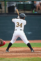 Nick Buckner (34) of the Bristol Pirates at bat against the Johnson City Cardinals at Boyce Cox Field on July 7, 2015 in Bristol, Virginia.  The Cardinals defeated the Pirates 4-1 in game one of a double-header. (Brian Westerholt/Four Seam Images)