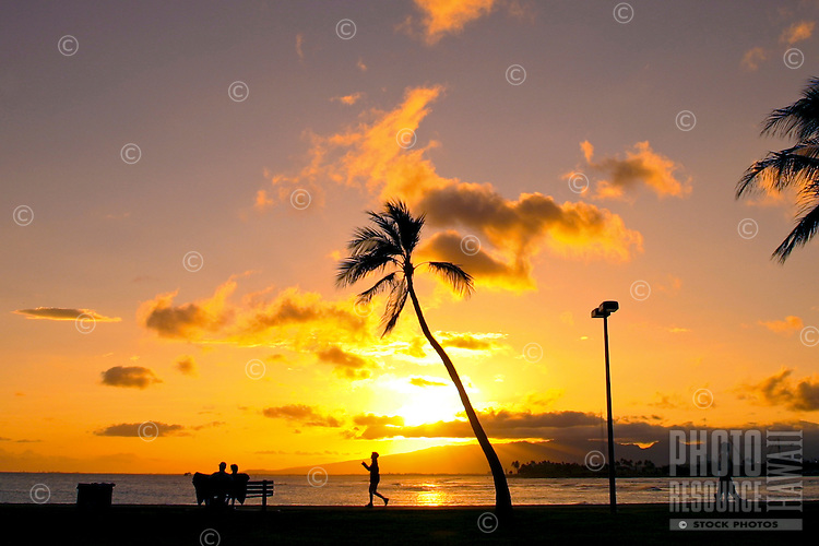 A radiant orange sun sets behind swaying palm trees and western Oahu mountains as seen from Ala Moana Beach Park on Oahu.