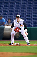 Louisville Cardinals first baseman Brendan McKay (38) during a game against the Maryland Terrapins on February 18, 2017 at Spectrum Field in Clearwater, Florida.  Louisville defeated Maryland 10-7.  (Mike Janes/Four Seam Images)