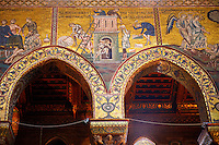 Byzantine mosaics depicting scenes from the Bible of the building o the Tower of Babel in the Cathedral of Monreale - Palermo - Sicily Pictures, photos, images & fotos photography