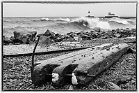 Mysterious Debris<br /> Relentless, powerful waves tossed a mind-boggling amount of debris far onto shore. This chunk of debris landed beyond the battered boardwalk. North and South Pier Lighthouses appear in the distance.