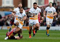 Photo: Richard Lane/Richard Lane Photography. Gloucester Rugby v Wasps. Gallagher Premiership. 23/03/2019. Wasps' Gaby Lovobalavu kicks ahead.