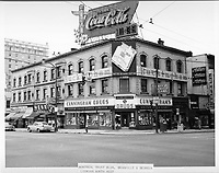 Montreal Trust building<br /> notice signs and ads for Coca Cola, cunningham drugs,Buckingham cigarettes