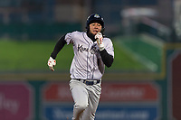 Kane County Cougars Eduardo Diaz (1) runs to third base during a Midwest League game against the Fort Wayne TinCaps at Parkview Field on April 30, 2019 in Fort Wayne, Indiana. Kane County defeated Fort Wayne 7-4. (Zachary Lucy/Four Seam Images)