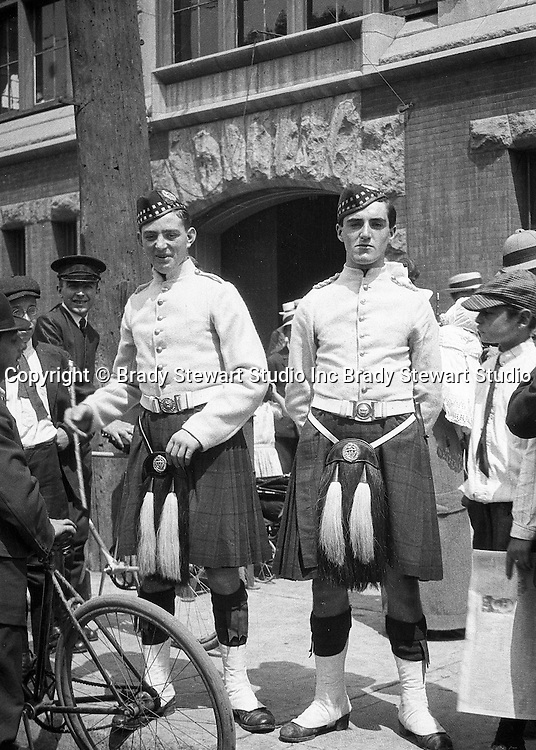 Toronto Ontario:  Two members of the 48th Highlanders after one of the parades celebrating the 100th anniversary of the Battle of Lundy's Lane.