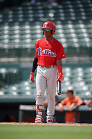 Philadelphia Phillies Luis Garcia (5) at bat during a Florida Instructional League game against the Baltimore Orioles on October 4, 2018 at Ed Smith Stadium in Sarasota, Florida.  (Mike Janes/Four Seam Images)