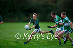 Shane Conway Finuge gets away from Billy O'Brien Listry during their Junior Premier Championship game in Fr Myles Allman Park Listry on Saturday