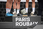 World Champion Peter Sagan (SVK) Bora-Hansgrohe wins with Swiss Champion Silvan Dillier (SUI) AG2R La Mondiale finishes in 2nd place and Niki Terpstra (NED) Quick-Step floors in 3rd in the Roubaix Velodrome at the end of the 116th edition of Paris-Roubaix 2018. 8th April 2018.<br /> Picture: ASO/Pauline Ballet | Cyclefile<br /> <br /> <br /> All photos usage must carry mandatory copyright credit (© Cyclefile | ASO/Pauline Ballet)