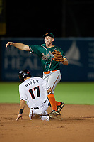 Greensboro Grasshoppers second baseman Zack Kone (27) throws to first base as Johnny Rizer (17) slides in during a South Atlantic League game against the Delmarva Shorebirds on August 21, 2019 at Arthur W. Perdue Stadium in Salisbury, Maryland.  Delmarva defeated Greensboro 1-0.  (Mike Janes/Four Seam Images)
