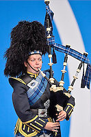 Bagpipe player during Commonwealth Games Swimming, Monday, July 28, 2014 in Glasgow, United Kingdom. (Mo Khursheed/TFV Media via AP Images)