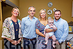 Baby Darragh with his parents Paul & Gillian Horan, Glin, Co. Limerick and his god parents Mairead Wallace & Keith McNamara who was christened in Glin Church by Fr. Crawford on Sunday last and afterwards at the Listowel Arms Hotel.