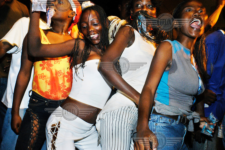 Girls dancing during a carnival in the capital city.