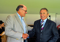 Don Neeley (right) with Alisdair McBeth. Cricket Wellington membership badge presentations in the Long Room at the Basin Reserve in Wellington, New Zealand on Saturday, 14 November 2020. Photo: Dave Lintott / lintottphoto.co.nz