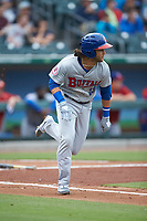 Bo Bichette (13) of the Buffalo Bisons hustles down the first base line against the Caballeros de Charlotte at BB&T BallPark on July 23, 2019 in Charlotte, North Carolina. The Bisons defeated the Caballeros 8-1. (Brian Westerholt/Four Seam Images)