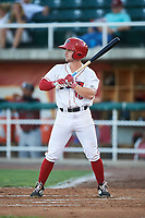 Orem Owlz Morgan McCullough (18) at bat during a Pioneer League game against the Idaho Falls Chukars at The Home of the OWLZ on August 13, 2019 in Orem, Utah. Orem defeated Idaho Falls 3-1. (Zachary Lucy/Four Seam Images)