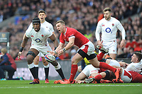 George North of Wales passes during the Guinness Six Nations match between England and Wales at Twickenham Stadium on Saturday 7th March 2020 (Photo by Rob Munro/Stewart Communications)