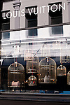 LV Gilded Cage Bags - Shop window display of Louis Vuitton bags in gilded cages, King Street, Perth, Western Australia