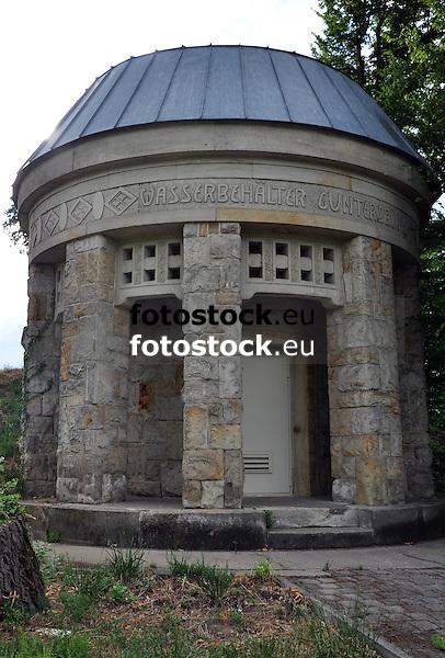 Wasserbehälter Guntersblum (1906), Rundbau mit Vorhalle, Jugendstil, Architekt Wilhelm Lenz