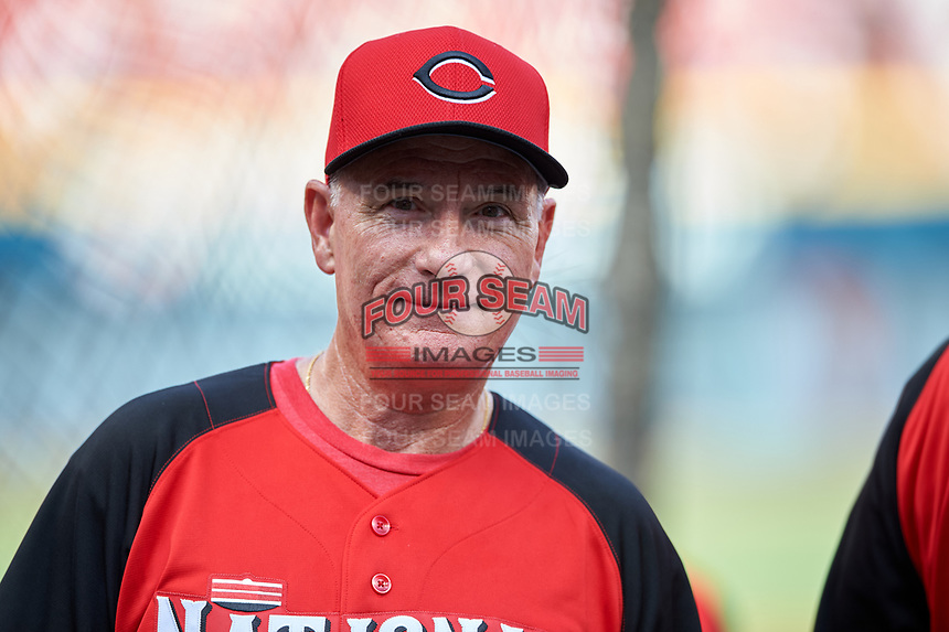 Cincinnati Reds batting practice pitcher Tim Burman during practice before the MLB All-Star Game on July 14, 2015 at Great American Ball Park in Cincinnati, Ohio.  (Mike Janes/Four Seam Images)