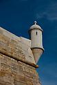 Turret on the exterior of the Fortaleza de Santiago, Sesimbra, Portugal.