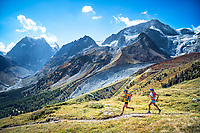 Descending to Arolla while trail running on the Via Valais, a multi-day trail running tour connecting Verbier with Zermatt, Switzerland.