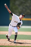 GCL Pirates relief pitcher Austin Shields (49) during a game against the GCL Braves on August 10, 2016 at Pirate City in Bradenton, Florida.  GCL Braves defeated the GCL Pirates 5-1.  (Mike Janes/Four Seam Images)