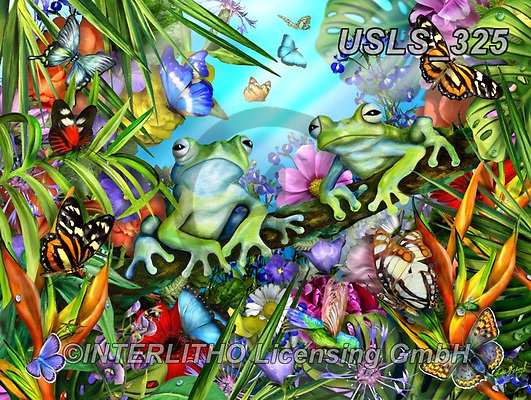 Lori, REALISTIC ANIMALS, REALISTISCHE TIERE, ANIMALES REALISTICOS, zeich, paintings+++++Two Blue Frogs In The Garden_18.25X24,USLS325,#a#, EVERYDAY ,puzzle,puzzles