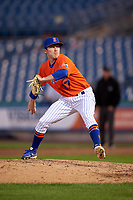 Syracuse Mets pitcher Ryley Gilliam (17) during an International League game against the Charlotte Knights on June 11, 2019 at NBT Bank Stadium in Syracuse, New York.  Syracuse defeated Charlotte 15-8.  (Mike Janes/Four Seam Images)