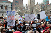Rally Anti Trump Muslim Ban and immigration restrictions at Copley Plaza Boston ,MA 1.29.17