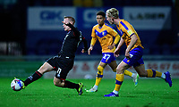 Lincoln City's Anthony Scully under pressure from Mansfield Town's Harry Charsley<br /> <br /> Photographer Andrew Vaughan/CameraSport<br /> <br /> EFL Trophy Northern Section Group E - Mansfield Town v Lincoln City - Tuesday 6th October 2020 - Field Mill - Mansfield  <br />  <br /> World Copyright © 2020 CameraSport. All rights reserved. 43 Linden Ave. Countesthorpe. Leicester. England. LE8 5PG - Tel: +44 (0) 116 277 4147 - admin@camerasport.com - www.camerasport.com