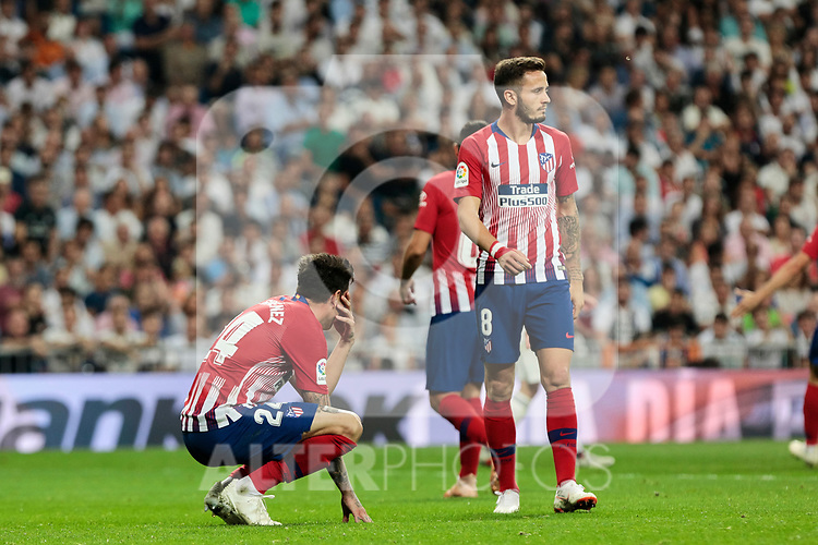 Atletico de Madrid's Jose Maria Gimenez (L) and Saul Niguez (R) during La Liga match between Real Madrid and Atletico de Madrid at Santiago Bernabeu Stadium in Madrid, Spain. September 29, 2018. (ALTERPHOTOS/A. Perez Meca)