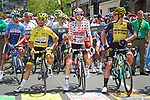 The jersey holders ready for the start of Stage 11 of the 2019 Tour de France running 167km from Albi to Toulouse, France. 17th July 2019.<br /> Picture: ASO/Olivier Chabe   Cyclefile<br /> All photos usage must carry mandatory copyright credit (© Cyclefile   ASO/Olivier Chabe)