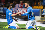 St Johnstone v Dundee United...27.12.14   SPFL<br /> Michael O'Halloran celebrates his goal with Simon Lappin<br /> Picture by Graeme Hart.<br /> Copyright Perthshire Picture Agency<br /> Tel: 01738 623350  Mobile: 07990 594431