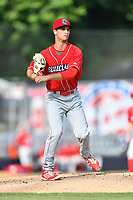Lakewood BlueClaws starting pitcher Nick Fanti (20) attempts to pick a runner off first base during a game against the  Asheville Tourists at McCormick Field on June 3, 2017 in Asheville, North Carolina. The Tourists defeated the BlueClaws 10-7. (Tony Farlow/Four Seam Images)
