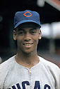 Chicago Cubs Ernie Banks (14) portrait from early in his career..Ernie Banks played all of his 18 seasons with the Chicago Cubs and was inducted to the Baseball Hall of Fame in 1977
