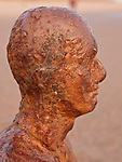 """Close up showing detail in Antony Gormley's Iron Men..Part of  """"Another Place"""" situated on Crosby Beach Merseyside England"""