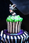 """""""Beetlejuice"""" Celebrates 100th Performance on Broadway with  a cake designed by Carlo's Bakery at the Winter Garden Theatre on July 23, 2019 in New York City."""