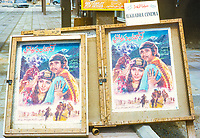 Abu Dhabi, UAE. Indian Movie Advertisements in the Main Souk, for the Guest Worker Community. Photographed March 1972.