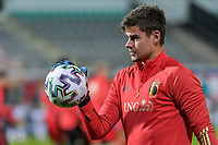 goalkeeper Nick Shinton (21) of Belgium pictured before a soccer game between the national teams Under21 Youth teams of Belgium and Denmark on the fourth matday in group I for the qualification for the Under 21 EURO 2023 , on tuesday 12 th of october 2021  in Leuven , Belgium . PHOTO SPORTPIX   STIJN AUDOOREN