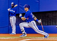 25 March 2019: Toronto Blue Jays outfielder Billy McKinney singles in the 3rd inning of an exhibition game against the Milwaukee Brewers at Olympic Stadium in Montreal, Quebec, Canada. The Brewers defeated the Blue Jays 10-5 in the first of two MLB pre-season games in the former home of the Montreal Expos. Mandatory Credit: Ed Wolfstein Photo *** RAW (NEF) Image File Available ***